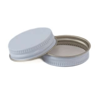 38CT White/White Metal Plastisol  Lid Minimum Order 500 Count